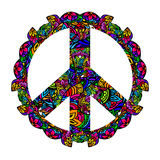 Colorful peace symbol. Hippie style. Groovy Ornamental of colorful retro peace sign 60s, 70s. Vector illustration vector illustration