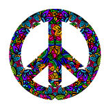 Colorful peace symbol. Hippie style. Groovy Ornamental of colorful retro peace sign 60s, 70s. Vector illustration stock illustration