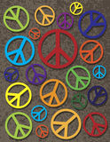 Colorful Peace Symbol on Texture Background Stock Photos