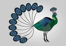 colorful peacock illustration with hatched patterned body parts, decorative bird, anti-stress coloring Stock Photo
