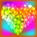 Colorful pearl shiny glowing heart. Happy Valentine`s Day. Vector illustration.  Stock Photo