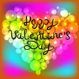 Colorful pearl shiny glowing heart. Inscription of the lettering Happy Valentine`s Day. Vector illustration. Colorful pearl shiny glowing heart. Inscription of Royalty Free Stock Photo