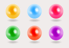 Colorful pearls on grey background, 3D. Colorful pearls on grey background Stock Image