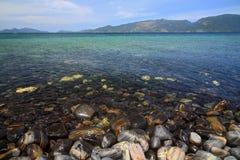 Colorful pebbles at beautiful stone island, called Koh Hin Ngam Royalty Free Stock Photography