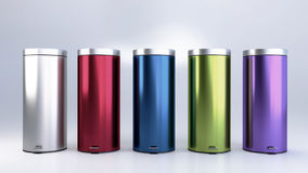 Colorful Pedal Bin Collection Royalty Free Stock Photography