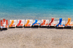 Colorful pedal boats on a beach Stock Image