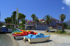 Colorful pedalos on beach. Colorful pedalos and water attraction on beach of Nydri,Lefkada island,Greece stock images