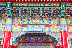 Colorful pediment of Chinese Temple Stock Photography