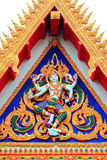 Colorful pediment. Of Thai temple Royalty Free Stock Image