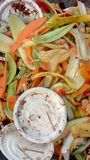 Colorful peels of fruits and empty plates thrown away Royalty Free Stock Image