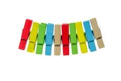 Colorful of peg set isolated on white background.  stock photography