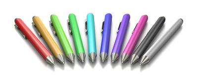 Colorful Pen Collection on White. Background 3D Illustration Stock Photo