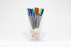 Colorful Pen. In a glass with isolate Stock Image