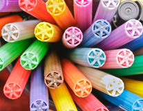 Colorful pen lids Stock Photography