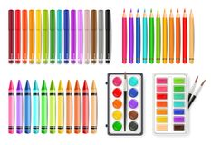 Colorful pen, marker and watercolor palette tools set Vector realistics. Colorful pen, marker and watercolor palette tools set Vector realistic royalty free illustration