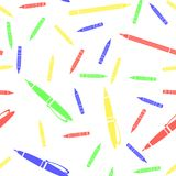 Colorful Pen and Pencil Seamless Pattern. Sharpened Pencils for Drawing. Randomly Scattered School Accessories. Colorful Pen and Pencil Seamless Pattern on Royalty Free Stock Photography