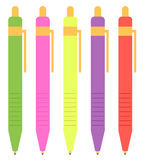 Colorful pen set isolated on white. School pen mix. Vector illustration Stock Images