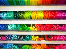 Colorful of the pen on the shelf at stationary store Royalty Free Stock Images