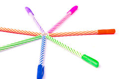 Colorful pen on white. Royalty Free Stock Images