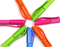 Colorful pen on white background. Royalty Free Stock Photography