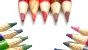 Colorful pen on white background stock video footage