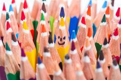 Colorful pencil as smiling faces. People. Image concept for social networking communication concept, rise from the crowd Stock Photo