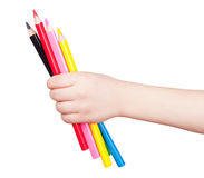 Colorful pencil in child hand isolated Stock Photography