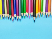 Free Colorful Pencil Color With Blue Background Royalty Free Stock Photography - 125752427