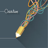 Colorful pencil and colorful line. Royalty Free Stock Images