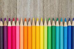 Colorful pencil crayon education background Stock Image