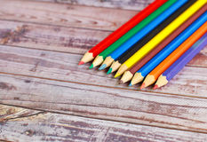 Colorful pencil crayons Stock Photo