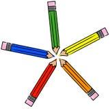 Colorful pencil crayons Stock Photos