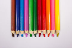 Colorful pencil crayons. Back to school. Colorful pencil crayons isolated on white, closeup Royalty Free Stock Photography
