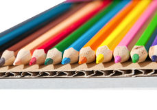 Colorful pencil crayons isolated Stock Photos