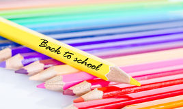 Colorful pencil crayons on a white background. Stock Photography