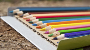 Colorful pencil crayons Stock Photos