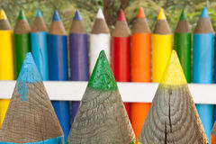 Colorful pencil fence. Photo of colorful pencil fence Royalty Free Stock Photography