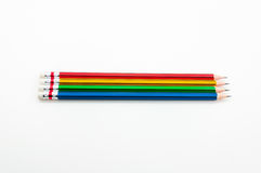 Colorful Pencil  in fist   power of written word on white Stock Photos