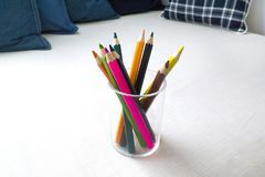 Colorful pencil in a glass Royalty Free Stock Images