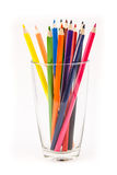 Colorful pencil. In a glass on white background Royalty Free Stock Photography