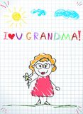 Colorful pencil hand drawing vector illustration of grandmother holding flower vector illustration