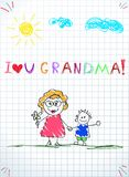 Colorful pencil hand drawn vector illustration of grandmother and grandchild holding hands. Kids drawings of happy family. Colorful pencil hand drawn vector royalty free illustration