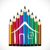 Colorful pencil home design Royalty Free Stock Image