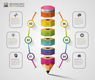 Colorful pencil Infographics step option. Modern design template. Vector illustration Stock Photo