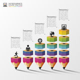 Colorful pencil Infographics step option. Vector illustration.  royalty free illustration