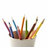 Colorful pencil in mug Stock Photos
