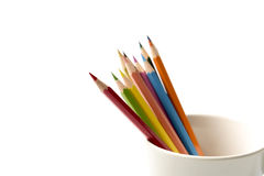 Colorful pencil in mug Royalty Free Stock Photo