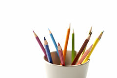 Colorful pencil in mug Stock Photography