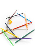 Colorful pencil on notebook Royalty Free Stock Images