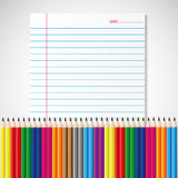 Colorful pencil on paper sheet. By illustrations Royalty Free Stock Images